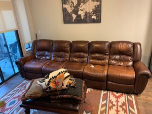 Leather sectional with reclining ends for Sale in Houston, TX