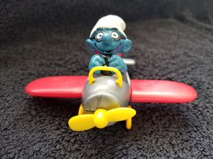 Smurfs Airplane Pilot Super Smurf Figure Flying Plane Vintage Toy Figurine for Sale in San Diego, CA