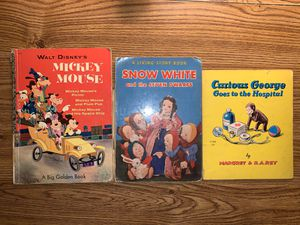 Old books curious George Mickey Mouse snowy white for Sale in Palos Hills, IL