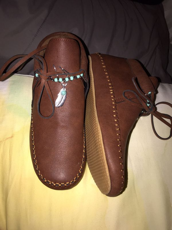 Brown moccasin booties