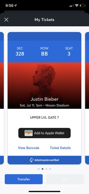 Justin Bieber Tickets $250 for one $450 for both for Sale in Nashville, TN