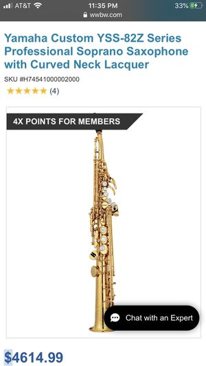 Yamaha custom YSS-82Z series professional soprano saxophone with curved neck lacquer for Sale in Crownsville, MD