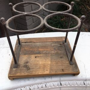 Great Looking Iron And Distressed Solid Wood Wine Holder Mint for Sale in Placida, FL