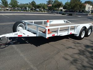 Trailer hauler 16x7 quad brakes/ tires great with spare for Sale in Phoenix, AZ