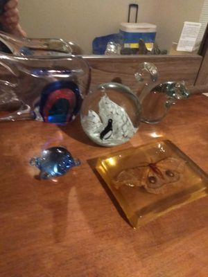 5 Unique Art Glass Paperweights, squirrel, fish, turtle, moth, penguins for Sale in Oklahoma City, OK