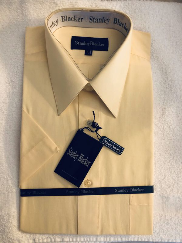 Stanley Blacker Men's Solid Short Sleeve 60% COTTON 40% POLYESTER - M - Lt. Yellow - Size 15 1/2