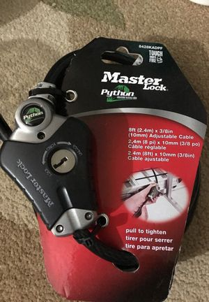 Master lock python 8ft x 3/8in adjustable cable for Sale in Seattle, WA