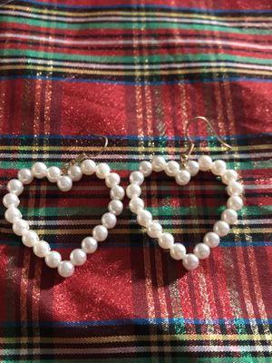 Heart shape pearl earrings for Sale in Falls Church, VA