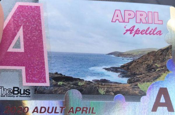 Bus pass for april
