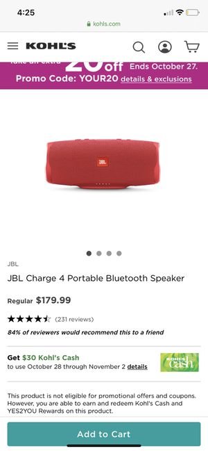 JBL Charge 4 portable Bluetooth speaker for Sale in Monterey Park, CA