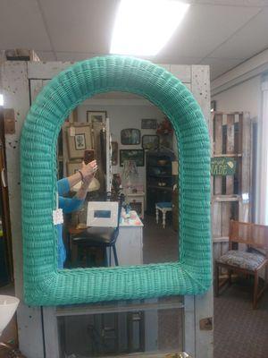 Aqua wicker mirror for Sale in US