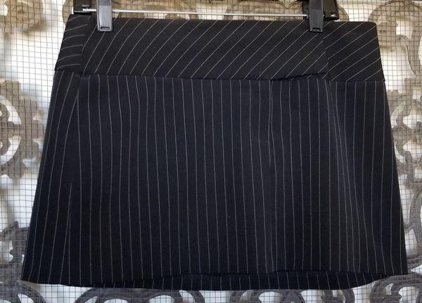 Black pinstripe mini skirt