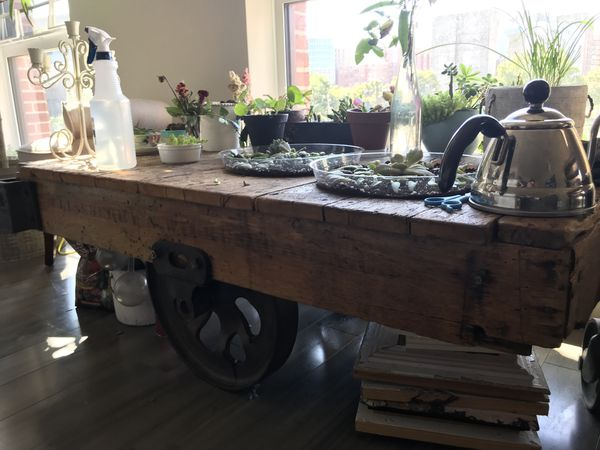 Authentic Antique Industrial Railroad Coffee-table/Cart