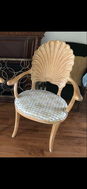 Single Vintage Carved Wood Grotto Accent Chair Clamshell Shell Wooden 1970s 70s Italian Italy Antique for Sale in Portland, OR