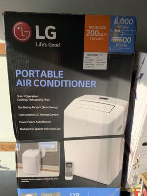 8,000 BTU (5,500 BTU,DOE) Portable Air Conditioner, 115-Volt w/ Dehumidifier Function and LCD Remote in White for Sale in Lakeland, FL