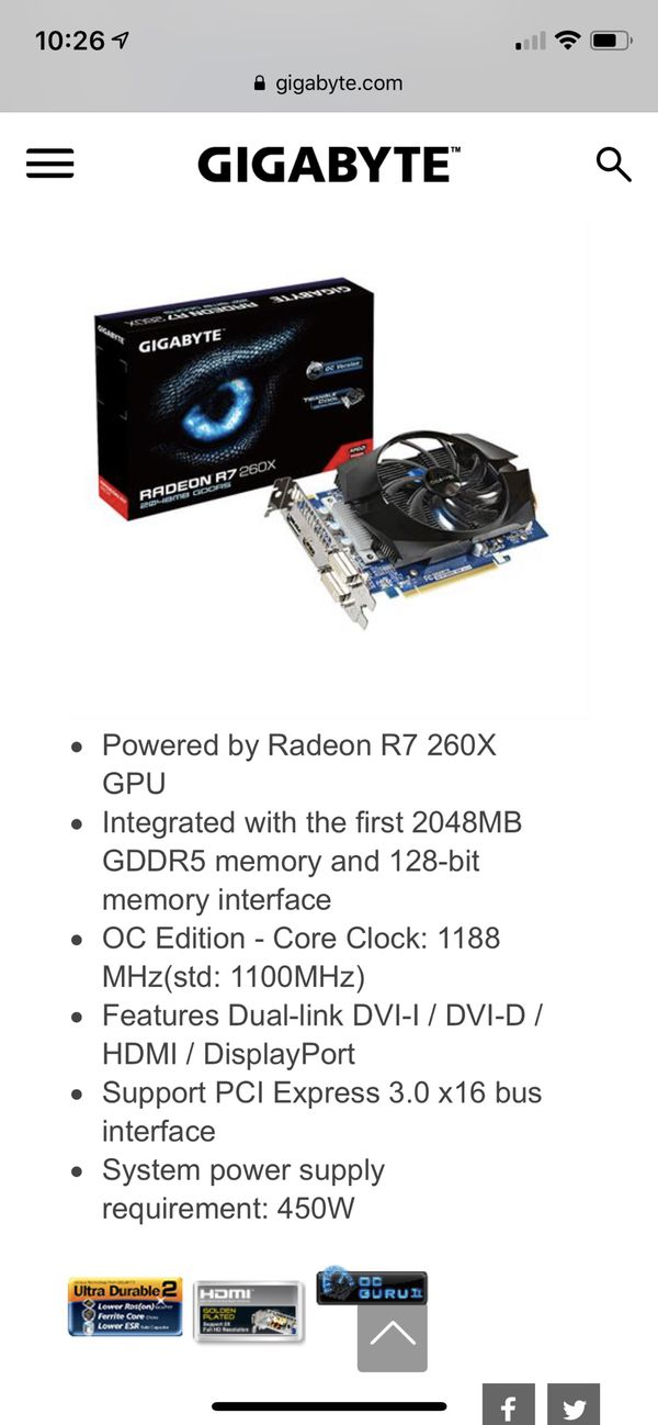 Gigabyte Radeon R7 260x 2048mb (NEW) for Sale in San Marcos, CA - OfferUp
