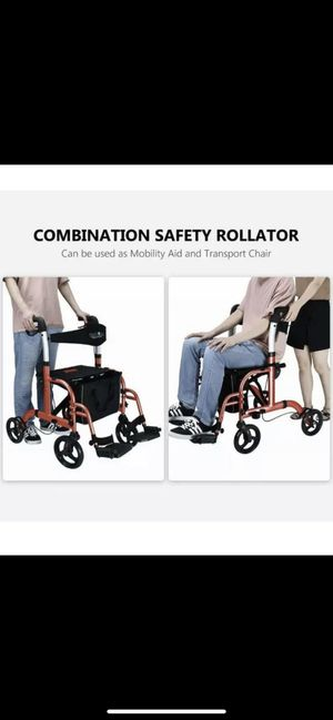 Health Line Combination Rollator and Transport Chair w/Paded Seatrest, Reversible Backrest, Detachable & Adjustable Footrests, Cherry red. for Sale in Riverside, CA