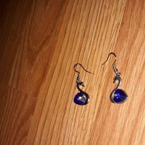 Blue Stone Swan Dangle Earrings. for Sale in Dallas, TX