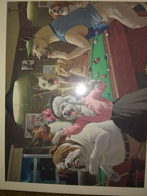 Dogs playing pool art for Sale in Tampa, FL