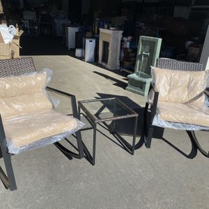 3 Piece Iron and Wicker Patio Rocking Conversation Set for Sale in Whittier, CA