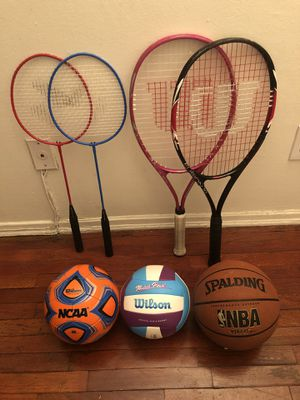 Sports set/equipment. Two Wilson tennis rackets, two badminton rackets, soccer ball, volley ball and basketball for Sale in West Hollywood, CA