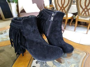 Black Suede Fringe Ankle Boots (size 10) for Sale in Orlando, FL