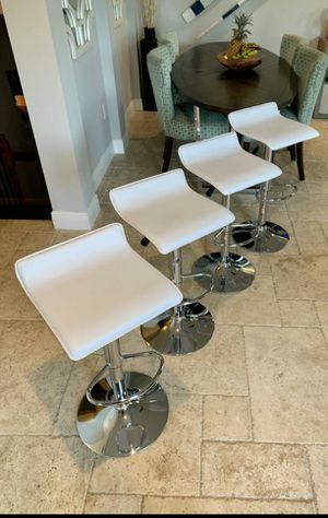 Set of 4 Modern Adjustable Barstools, bar stools, kitchen dining chairs, counter height with chrome base. Colors: Black, Red, White, Gray, Brown for Sale in Fort Lauderdale, FL