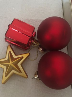 Red satin ornaments and to shatterproof ornaments. One dollar for all for Sale in Wildomar, CA