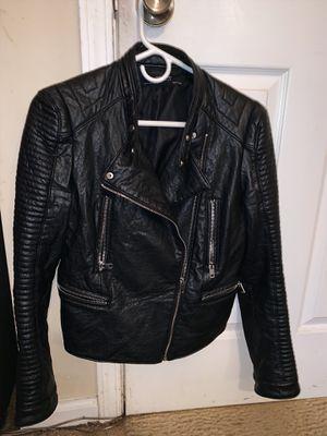 Women's Black Leather Jacket ZARA Medium for Sale for sale  Atlanta, GA
