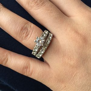 925 sterling silver plated luxurious wedding engagement ring band set size 6 and 7 available for Sale in Silver Spring, MD