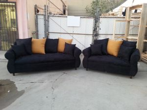 NEW DOMINO BLACK FABRIC COUCHES for Sale in San Bernardino, CA