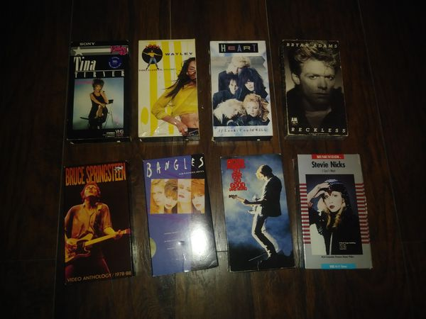 Lot Of 8 80's Music Video Clip Concerts Tina Turner, Jody Watley, Heart, Bryan Adams, Stevie Nicks, Bruce Springsteen And The Bangles ALL FOR $20