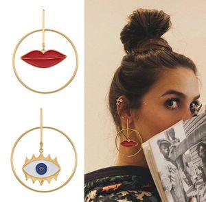 Fashion Street Style Asymmetric Lip Evil Eye Charm Gold Loop Drop Earrings for Sale in Houston, TX