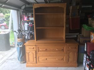 Solid oak file cabinet and shelf set for Sale in Oviedo, FL