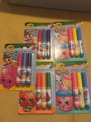SHOPKINS CRAYOLA MARKERS 3 per package 5 sets in lot for Sale in Port St. Lucie, FL
