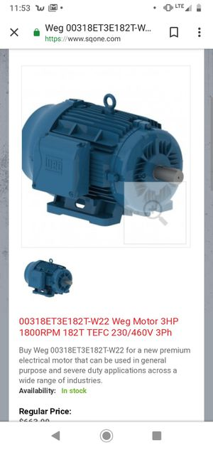Weg 3 hp 3 phase new for Sale in Bartlesville, OK