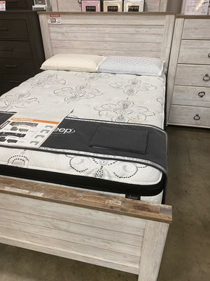 Queen Bed Frame, Whitewash, #B267 for Sale in Norwalk, CA