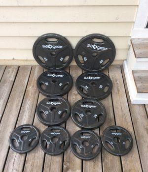 """240 lbs. Olympic """"SA GEAR weights - 2x 45 lb plates, 2x 35 lb plates, 2x 25 lb plates, & 4x 10 lbs plates for Sale in Glen Ellyn, IL"""