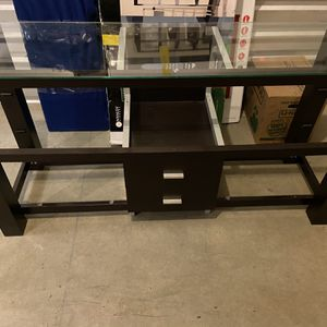 Modern Glass and Dark Cherry Wood TV Stand for Sale in Phoenix, AZ