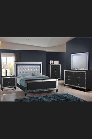 Brand New LED King Bedroom Set includes: King Bed, Dresser, Mirror, and a Nightstand. for Sale in Hialeah, FL