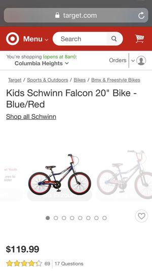 "Kids Schwann falcon 20"" bike blue/red for Sale in Fairfax, VA"
