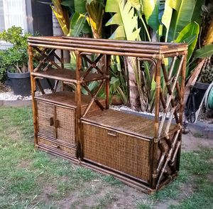 Vintage bamboo rattan wicker etagere stand for Sale in Alhambra, CA