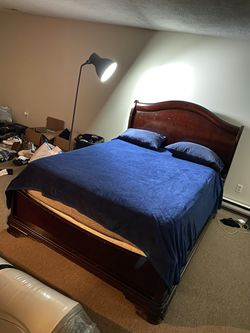 Queen bed frame and mattress solid wood for Sale in Branford,  CT