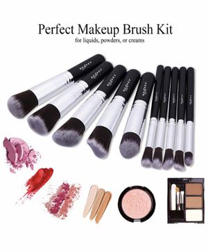 Brand new Makeup Brush Set, Premium Synthetic Kabuki Foundation Face Powder Blush Eyeshadow Brushes Makeup Brush Kit with Blender Sponge and Brush C for Sale in Arnold, MO