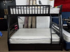 No credit needed no money down dark espresso twin full bunk bed includes mattresses and under storage for Sale in Silver Spring, MD