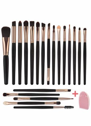 Brand new 20 PCs Makeup Blending Brush Tool Set,for Foundation Blending Blush Concealer Eye Shadow,Soft Fiber Bristles Premium Plastic Handles(Black for Sale in Arnold, MO