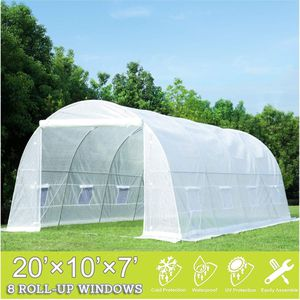 20x10x7 Large Portable Greenhouse Tent Tunnel for Gardening Plant House, White for Sale in Corona, CA