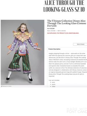 NEW Chasing Fireflies The Ultímate Collection Disney Alice Through the Looking Glass Costume for Girls SZ 10 for Sale in Arlington, VA
