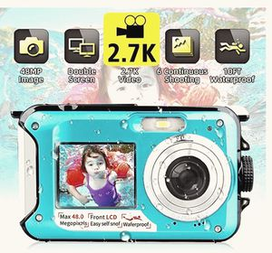 Waterproof Camera Underwater Camera FHD 2.7K 48MP Video Recorder Camcorder Selfie Dual Screen Waterproof Digital Camera for Snorkeling 10 ft underwat for Sale in Fairfax, VA