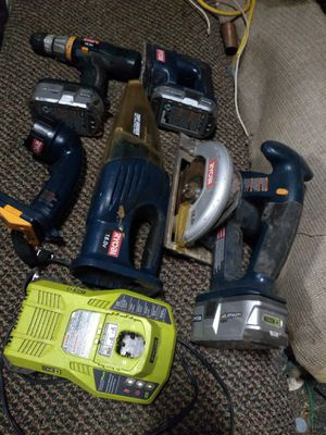 Ryobi set. Drill, circular Saw, vaquium, Sander, flash light, Charger,3 batteries for Sale in Greenville, SC